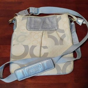 Coach Light Blue, Grey, & Off-White Crossbody